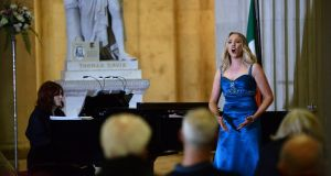 Maria McGrann, soprano, with pianist Aoife O'Sullivan, at the Opera Marathon in City Hall Photograph: Dara Mac Dónaill
