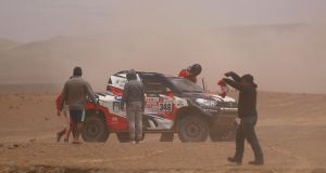 André Villas-Boas and co-driverRuben Faria are out of the Dakar Rally. Photograph: Dan Istitene/Getty