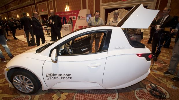 The Electra Meccanica Vehicles Solo three-wheeled, single-passenger electric vehicle attracts attention at CES Photograph: Bloomberg