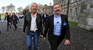 Richard Branson with Cool Planet founder Norman Crowley at Powerscourt Estate, Co Wicklow the Virgin  Atlantic founder  cut the ribbon and officially launched the world's first permanent visitor centre dedicated to climate change. Photograph: Colin Keegan/Collins Dublin
