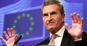 Tough job: EU Commissioner for budget Günther Oettinger. Photograph: Olivier Hoslet/EPA