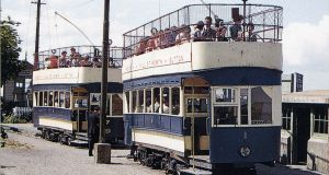 Passengers aboard the Hill of Howth tram before its closure in 1959. Photograph: National Transport Museum Collection