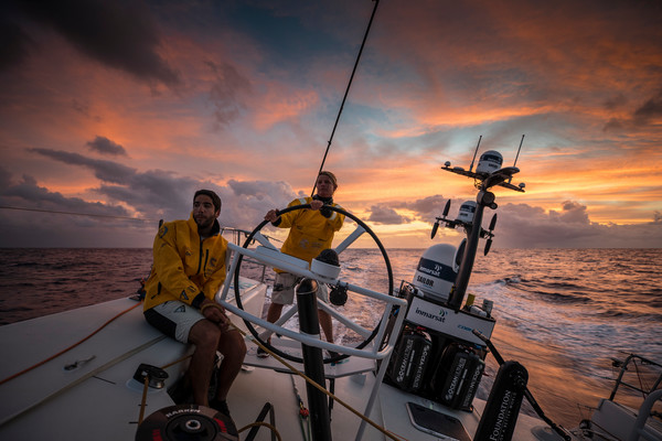 There have been some fairly spectacular sunsets on the calm doldrums. Photo: Brian Carlin/Volvo Ocean Race