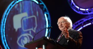 President Michael D Higgins opens the BT Young Scientist & Technology exhibition,  RDS, Dublin. Photograph: Dara Mac Dónaill