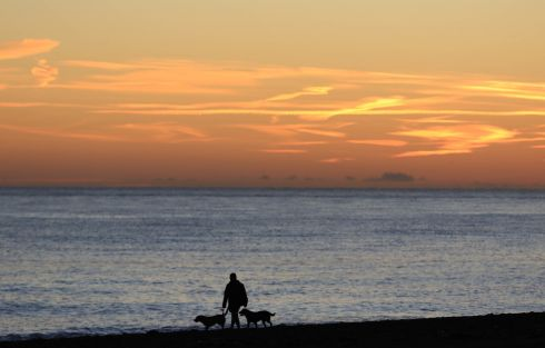 Winter walkers on Greystones' south beach this morning. Photograph: Nick Bradshaw