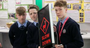 Darragh Fleming, Colm Looney and  Ethan O'Neill from Kerry with their project.  Photograph: Gareth Chaney Collins