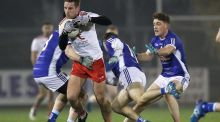 Cavan's Thomas Galligan with Niall Sludden of Tyrone during their McKenna Cup clash. Photo: Tommy Dickson