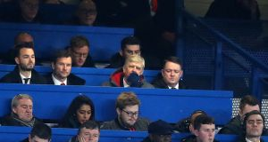 Arsène Wenger watches on from the Stamford Bridge press box. Photograph: Adam Davy/PA