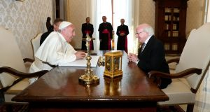 Pope Francis meeting President Michael D Higgins at the Vatican last May: The Catholic Church came late to the awareness of the value of Church-State separation and the autonomy of the secular. Photograph: PA Wire