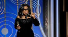 Oprah Winfrey speaks after accepting the Cecil B. Demille Award at the 75th Golden Globe Awards in Beverly Hills, California, U.S. January 7, 2018. Photograph: Paul Drinkwater/Courtesy of NBC