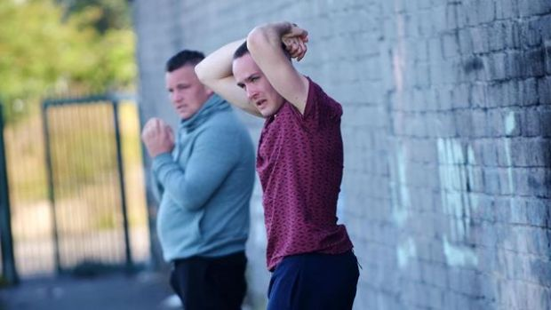 Fionn Walton and John Connors in Cardboard Gangsters