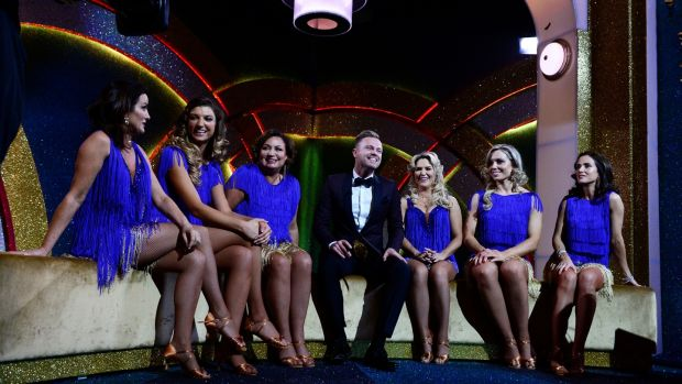 Deirdre O'Kane, Alannah Beirne, Norah Casey, Nicky Byrne, Erin McGregor, Anna Geary and Maia Dunphy on Dancing with the Stars. Photograph: Cyril Byrne