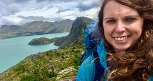 "Sharon Quigley in Torres del Paine National Park in Patagonia, Chile: ""I had seen for myself the power and unpredictability of the Patagonia weather. I could go from applying suncream to eating snowflakes in the space of five minutes."""
