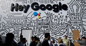 Google's stand at CES: the firm has quietly acquired a UK start-up focused on technology that turns surfaces such as phone displays into speakers