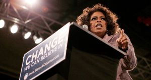 Oprah Winfrey speaking at then Democratic presidential candidate Barack Obama's rally in Des Moines, Iowa, 2007. Photograph: Ramin Rahimian/File Photo/Reuters