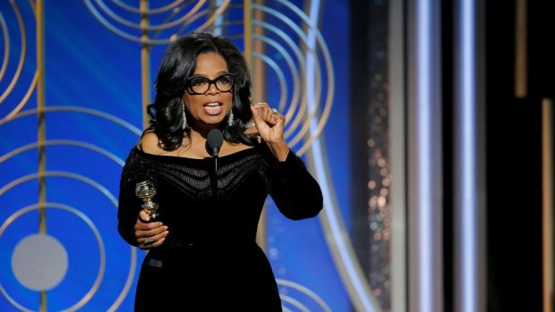 Winfrey speaks after accepting the Cecil B DeMille Award at the Golden Globes. Photograph: Paul Drinkwater/Courtesy of NBC/Handout