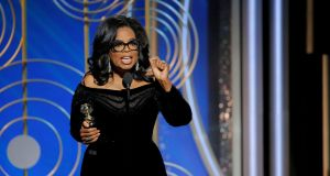 Oprah Winfrey  makes her speech at  the Golden Globes on Sunday. Photograph: Paul Drinkwater/Reuters