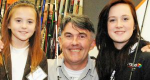 Fly casting instructor Hywel Morgan with his daughters Tanya (left) and Yasmin