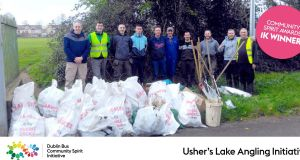 A collection of rubbish following clean-up of Usher Lake shoreline
