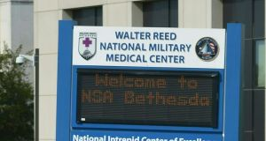 A welcome sign at Walter Reed National Military Medical Center in Bethesda, Maryland, where US president Donald Trump will on Friday undergi his first medical since assuming office. Photograph: Mandel Ngan/AFP/Getty Images