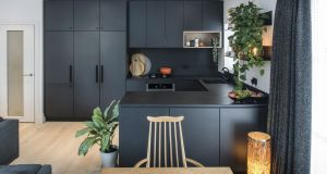 Patricia McGinnis's kitchen is painted in Farrow & Ball Pitch Black