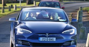 Richard Branson arrives by Tesla at Powerscourt Estate, having taken a helicopter to the Co Wicklow venue from Dublin city centre. Photograph: Colin Keegan/Collins