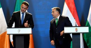Leo Varadkar and Viktor Orbán during the Taoiseach's visit to the Hungarian prime minister last week, in Budapest. Photograph: Tibor Illyes/MTI/AP