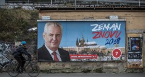 An election poster of Czech president Miloš Zeman. Photograph: Martin Divisek/EPA