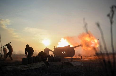 UKRAINE CONFLICT: Ukrainian servicemen fire a towed howitzer close to a frontline near Novoluhanske, in the Donetsk area. Photograph: Markiian Lyseiko/EPA