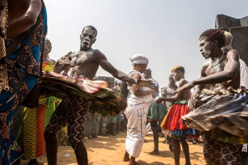 NATIONAL VOODOO DAY: 'Vodounsi' (voodoo followers) celebrate National Voodoo Day, in Ouidah, Benin.  Photograph: Salym Fayad/EPA