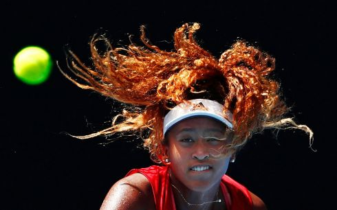 AUSTRALIAN OPEN: Naomi Osaka of Japan serves during a practice session ahead of the 2018 Australian Open, in Melbourne. Photograph: Scott Barbour/Getty Images