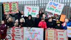 Families and children from Dolphin House protest at the loss of a site  off the South Circular Road.Photograph: Cyril Byrne/The Irish Times
