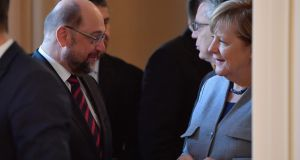 The leader of Germany's social democratic SPD party Martin Schulz and acting German chancellor Angela Merkel are in talks to form a new government. Photograph: Getty