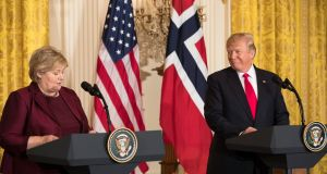US president Donald Trump with Norwegian prime minister Erna Solberg during a news conference at the White House on Wednesday. Photograph:  Tom Brenner/The New York Times