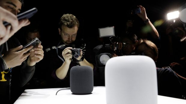 Are voice-activated speakers the next opportunity for media companies? The Apple HomePod speaker, which will arrive on the market this year to compete with Amazon's Alexa and Google Home. Photograph: Marcio Jose Sanchez/AP