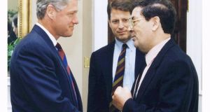 Former US president Bill Clinton and vice president Al Gore meeting SDLP leader John Hume at the White House. Photograph: Reuters