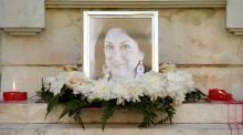 The Great Siege monument in Valletta, Malta, was turned into a shrine for journalist Daphne Caruana Galizia after she was killed by a car bomb last October. Photograph: Matthew Mirabelli/AFP/Getty Images