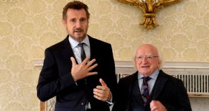 Liam Neeson  was presented with the Distinguished Service Award for the Irish Abroad  at Áras an Uachtaráin by  President Michael D Higghins. Photograph: Cyril Byrne/The Irish Times.