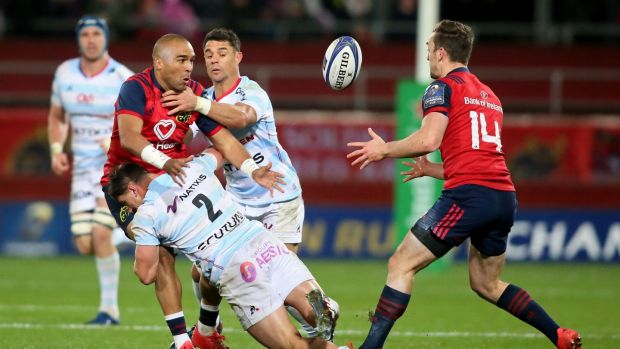 Simon Zebo in action for Muster against Racing 92 during the 14-7 Champions Cup victory at Thomond Park. Photograph: Paul Faith/AFP/Getty