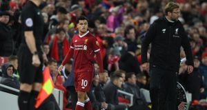 Philippe Coutinho is substituted by Jürgen Klopp in his last Liverpool appearance, against Leicester on  December 30th. Photograph: Paul Ellis/AFP