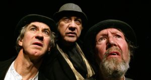 Barry McGovern as Vladimir, Alan Stanford as Pozzo and Johnny Murphy as Estragon in rehearsal of Waiting for Godot. Photograph: Marc O'Sullivan