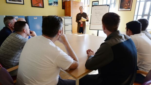 The entrepreneurship class at Wheatfield prison. Photograph: Alan Betson