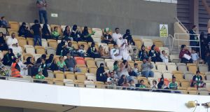 Women pictured in the crowd at the King Abdullah Sports City stadium in Jeddah for the Saudi Pro League match between Al-Ahli and Al-Batin. Photograph: AFP