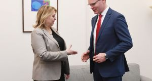 Tánaiste Simon Coveney meets Northern Ireland Secretary Karen Bradley at the Northern Ireland Office in Westminster, London, on Friday. Photograph: Stefan Rousseau/PA Wire.
