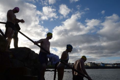 AT SEA: Swimmers at Sandycove Beach, Co Dublin. Photograph: Dara Mac Dónaill/The Irish Times