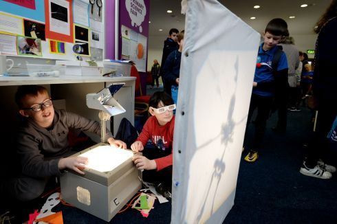 ON REFLECTION: Darragh Flynn Kenny and Patrick McMahon from Catherine McAuley National School, Dublin, at the RDS Primary Science Fair. Photograph: Alan Betson/The Irish Times