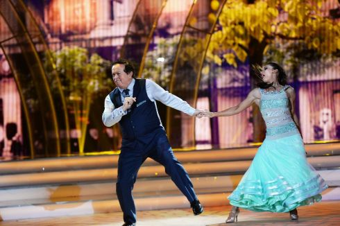GOOD SPORT: Marty Morrissey and Ksenia Zsikhotska dance the quickstep during the first live show of RTÉ's 'Dancing with the Stars'. Photograph: Cyril Byrne/The Irish Times