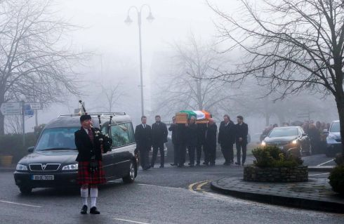 HARTE FUNERAL: The funeral of former Fine Gael TD Paddy Harte leaves Raphoe town square, Co Donegal. Photograph: Donna El Assaad