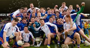 Mary Immaculate College, Limerick celebrate winning the Fitzgibbon Cup at Pearse Stadium last year. Photograph: Tom Beary/Inpho
