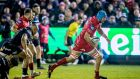 Tadhg Beirne breaks away to score Scarlets' first  try in the Champions Cup game against Bath at The Recreation Ground. Photograph: Morgan Treacy/Inpho